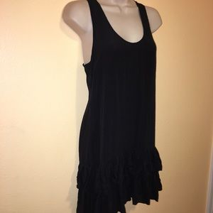 Lush 100% Silk Ruffle Cocktail Dress Black Sz S